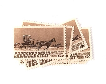 10 x Cherokee Strip 1968 6 cents UNUsed Vintage US Postage Stamps - Horse - Oklahoma - Land Rush - postcrossing, invites, mail art