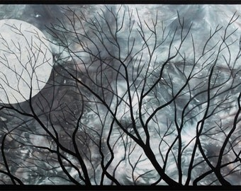 Night Sky - Nature Sky Moon Trees Fibre Art Wall Hanging Landscape Original