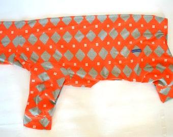 Greyhound Pyjama Onesie - Orange with Grey Geometric Print