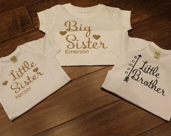 Big Sister Shirt, Little Brother Shirt, Little Sister Shirt, Twins Shirts, Shirts For Twins, Sibling Shirts, Personalized Shirts