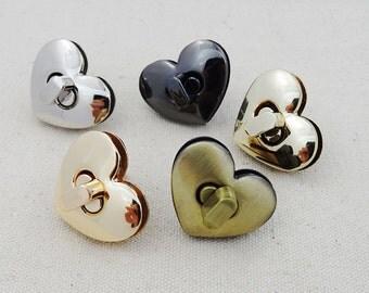 Golden Heart-Shaped Purse Lock, Purse Twist Lock, Turn Lock,Metal Lock, Lock Clasp,Handbags Supply, Hardware Accessories,Whole Sale