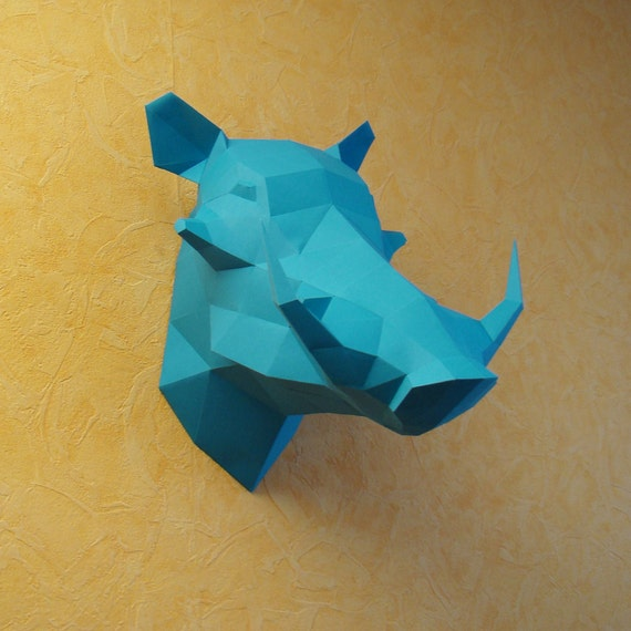 free cardboard taxidermy templates - warthog boar paper trophy wild pig paper trophy printable