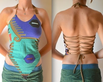 Pixie top, tribal clothing, festival clothes, backless top, Burning Man clothes, psytrance, yoga top, boho, hippie clothes, halter top
