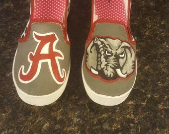 Hand painted Alabama Roll Tide Shoes