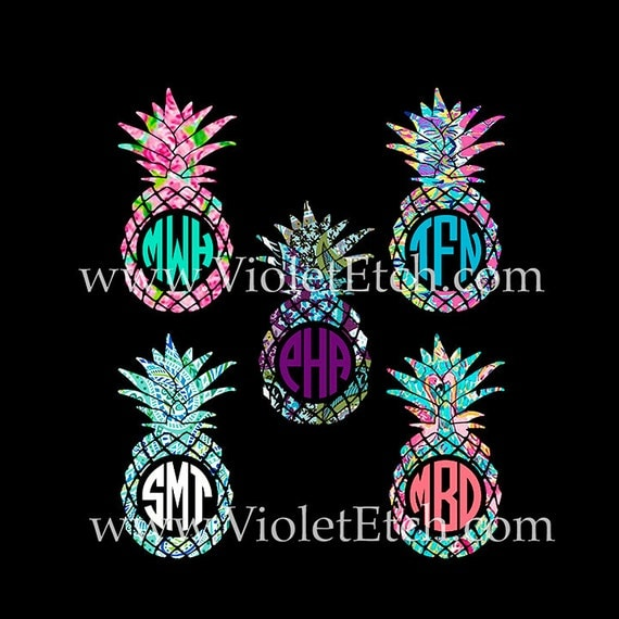 Pineapple Monogram-Yeti Decal-Pineapple Circle Monogram Decal-Lilly-Pineapple Decal-Laptop Decal-Pineapple Sticker-Window Decal