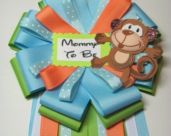 Daddy to Be Tie / Mommy to Be Baby Shower Corsage / Safari Theme Baby Shower Corsage / Shower Corsage