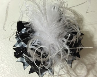 Black and White Over The Top Hair Bows , OTT Hair Bow , Girls Hair Bows , Over The Top Hair Bow , Black and White Hair Bows
