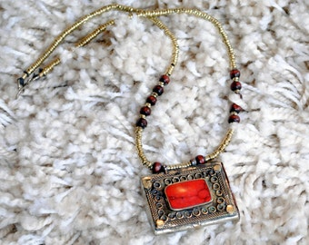 Afghan Tribal Gypsy Amulet Pendant Necklace - Turquoise and Coral