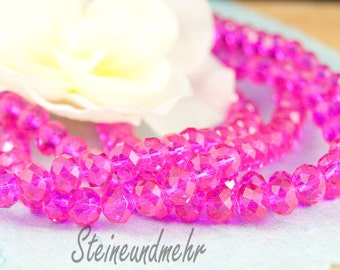 20 x 8 x 6 PINK faceted glass beads type. 2386