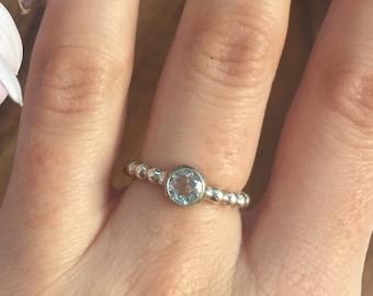 Blue Topaz Ring, Birthstone Ring, December Birthstone Ring, Stackable Ring, Pandora Rings, Dainty Ring, Bridal Ring, Solid Silver
