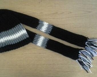Black, grey, white,  beenie & scarf