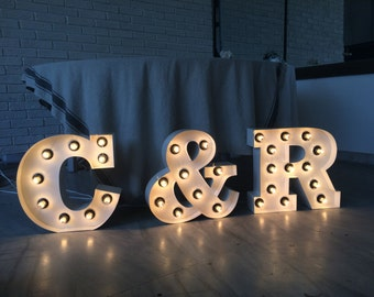 wedding signs INITIALS  monogram custom sign BAR LOVE C & R J and C, A and B, D, E, F, G, H, I, O, P , Q metal light up letters