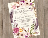 Rustic Bridal Shower Invitation Printable, Floral Bridal Shower Invites