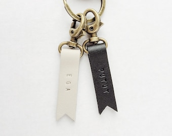 Custom Black and White Leather Keyrings for Couple Gift in Slim Design with Bunting Flag Tip, Free Personalized Handstamped Monogram