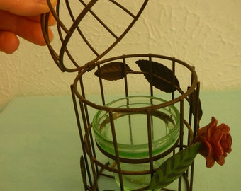Candle Cage with Ornament of leaves and Rose