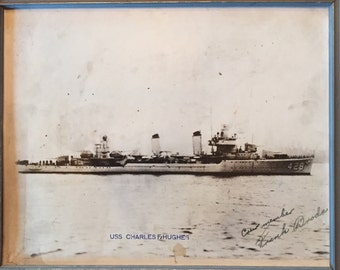 Signed Photograph of USS Charles F. Hughes by Crew Member Frank Broda
