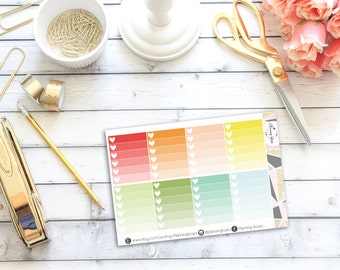 Ombre Heart Checklists #1    8 Planner Stickers