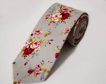 Retro Floral Skinny Tie 2.3 Inches