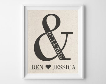 Ampersand & AND | 2 Year Wedding Anniversary Print | Gift for Couple | 2nd Anniversary | Cotton Anniversary Gift for Husband Wife