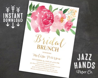Printable Bridal Shower Brunch Invitation, Wedding Shower Invites, Bridal Brunch Invitation, Wedding, Watercolor Floral, Instant Download