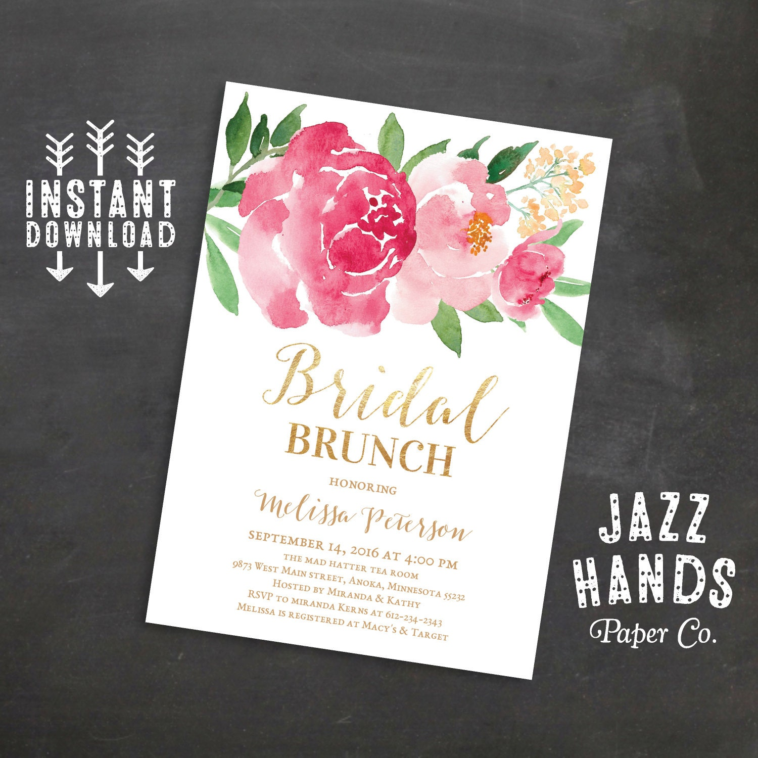 Printable Bridal Shower Brunch Invitation, Wedding Shower Invites, Bridal  Brunch Invitation, Wedding, Watercolor Floral, Instant Download  Printable Bridal Shower Invites