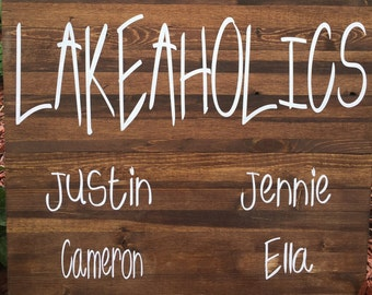 Lakeaholics Wood Sign - Lake Wood Sign - Lake Life - Lake House Decor - Lake House Sign