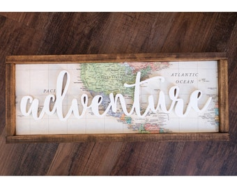 Adventure wood sign // 22 x 9 // world map wood sign // rustic adventure wood sign // adventure map sign // atlas wood sign // map sign