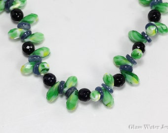 Gemstone Glass Water Jewelry Necklace, Kyanite and Agate Necklace, Green & Blue Necklace