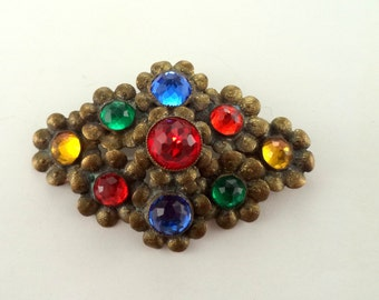 1930's Floral Brass Gilt  Rhinestone Brooch Jewel Tones Gold Tone