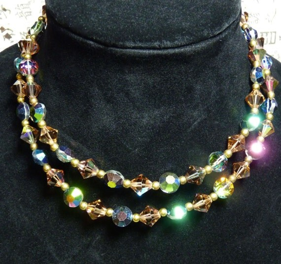 AURORA BOREALIS  NECKLACE ~ Copper and Rainbow Toned Aurora Borealis ~ Austrian Glass Crystal ~ 1950s Mid Century ~ Vintage ~ Free Shipping
