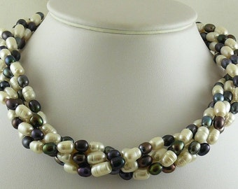 Freshwater White & Peacock Color Pearl Choker Necklace w Sterling Silver Clasp