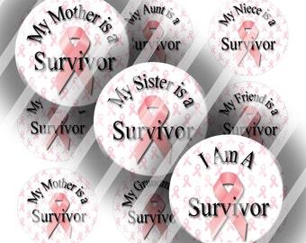 Digital Bottle Cap Collage Sheet - Family Breast Cancer Survivor - 1 Inch Circles Digital Images for Bottlecaps