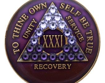 Purple Transition Crystallized Sobriety Medallion