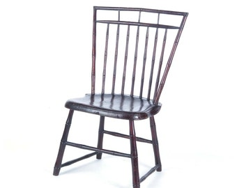 Antique Windsor side chair bird cage bamboo spindle back c 1800 wooden turnings