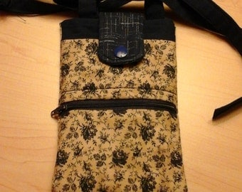 Cell Phone Purse, Crossbody,  Quilted, Navy/Beige