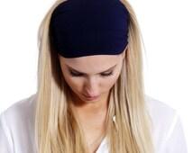 Wide Head Infinity Scarf Stretchy Headband, Head Infinity Scarf, Women's Modern Headband Elegant in Boho style in Black