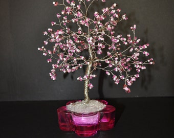 Wire Tree Sculpture, Pink & White Beaded Wire Tree Sculpture