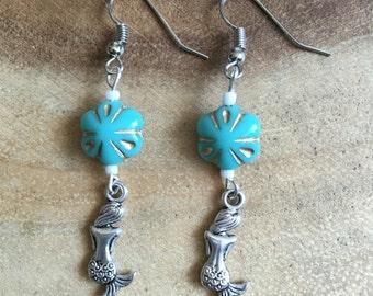 Mermaid Earrings, Mermaid Jewlery, Ocean Earrings, Beach Earrings, Dangle Earrings, Mint Earrings, Beaded Earrings, Womens Earrings.Fantasy