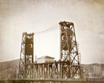 Portland Oregon Photography, Steele Bridge, Bridge Canvas, Bridge Art, Vintage Art, Bridge Print , Oregon Art, Black and White photo