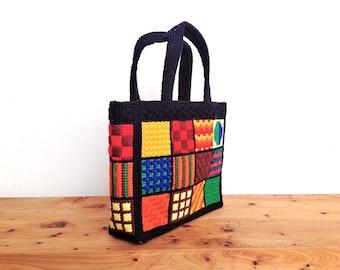60s/70s Mod Pop Art Crocheted Bag- Textile Purse