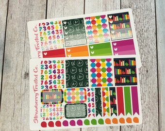 Back to School Themed Planner Stickers -- Made to fit Vertical Layout