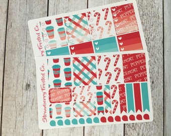 Peppermint Bliss Themed Planner Stickers - Made to fit Vertical Layout