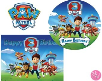 Paw Patrol Personalised Edible Image Real Icing Cake Topper Large A4