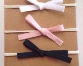 Set of 3 Mini baby bow headbands, newborn baby bow headbands, mini bows,babybows,baby girl headbands, pink bows,white bows,black bows