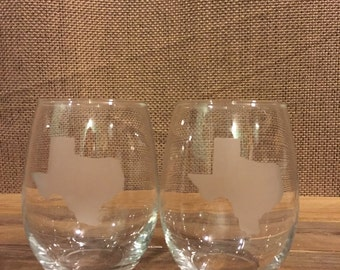 Texas etched stemless wine glasses