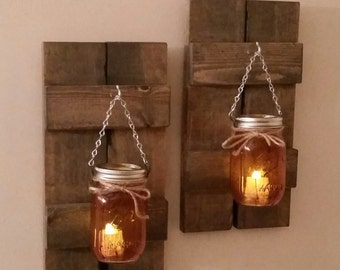 Rustic Wood Wall Sconce with Ball Mason Jar Candle Holder with Battery Candle (Pair)