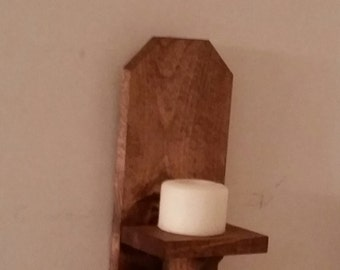 "Rustic Wood Wall Sconce // 12"" Wall Sconce //  Candle Holder // Wall Decor // Wall Hanger // Primitive Shelf"
