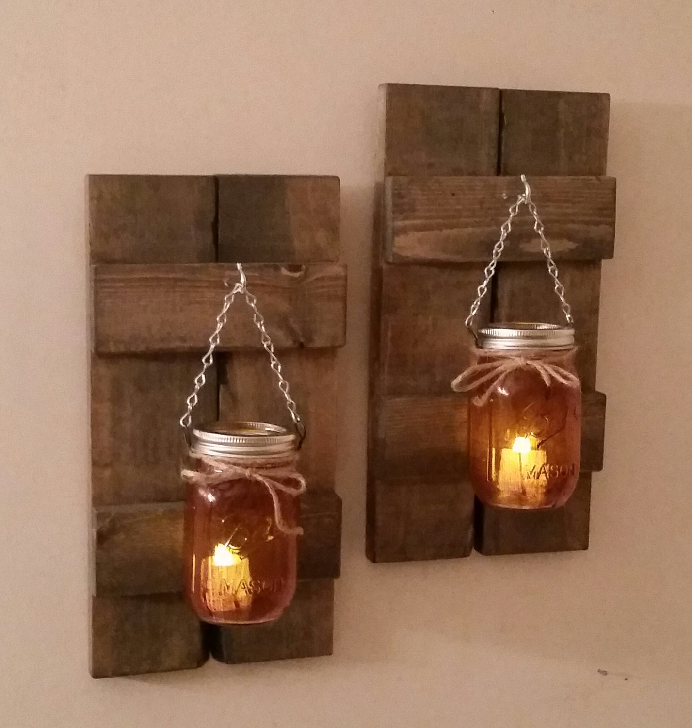 Rustic Wall Sconce Candle Holder : Rustic Wood Wall Sconce with Ball Mason Jar Candle Holder with