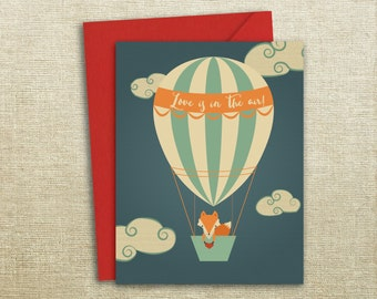 Fox Air Balloon Valentines Day Love Wedding Engagement Card Valentines Card, Boyfriend Card, For Girlfriend, Gift For Her, Gift For Him