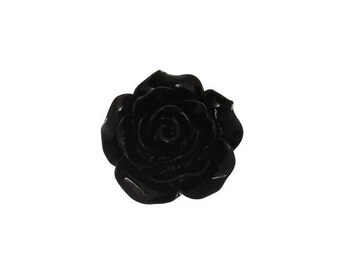 10 Black Cabochon Flowers, Black Resin Rose Flower (1S-87)